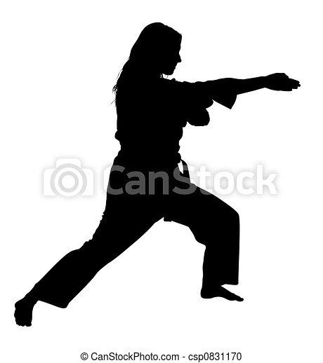 af)knippen, vrouw, silhouette, kunsten, krijgshaftig, steegjes - csp0831170
