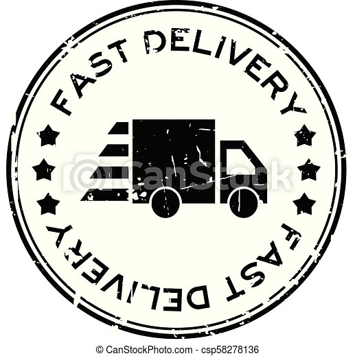 aflevering, grunge, postzegel, vasten, rubber, zwarte achtergrond, zeehondje, vrachtwagen, witte , ronde, pictogram - csp58278136