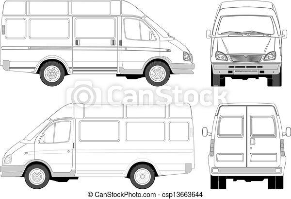 aflevering, passagier, bestelbus, / - csp13663644