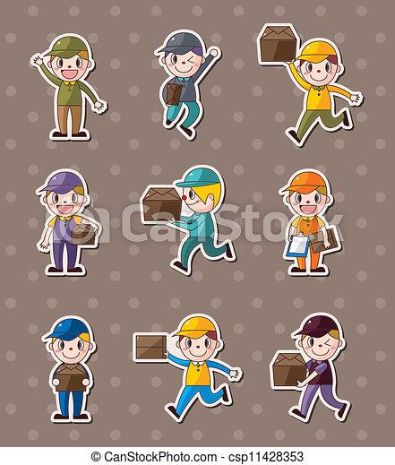 aflevering, uitdrukken, stickers, mensen - csp11428353