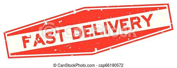 aflevering, woord, postzegel, vasten, rubber, achtergrond, zeehondje, grunge, witte , zeshoek, rood - csp66190572