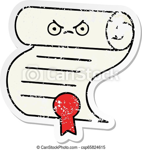 Pegatina angustiada de un lindo contrato de dibujos animados - csp65824615