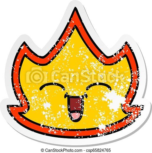Pegatina angustiada de un lindo fuego de dibujos animados - csp65824765