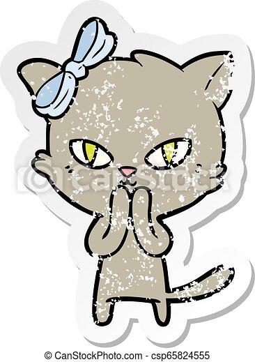 Pegatina angustiada de un lindo gato de dibujos animados - csp65824555