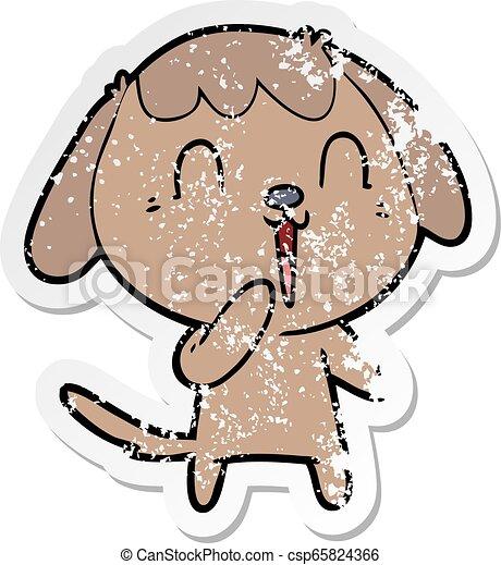 Pegatina angustiada de un lindo perro de dibujos animados - csp65824366