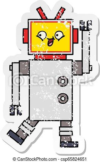 Pegatina angustiada de un lindo robot de dibujos animados - csp65824651