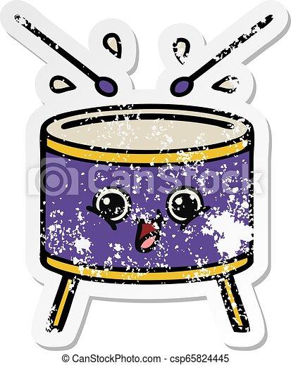 Pegatina angustiada de un lindo tambor de dibujos animados - csp65824445