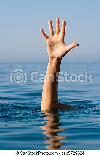 afogamento, ajuda, mão, único, pedir, mar, homem - csp5729624
