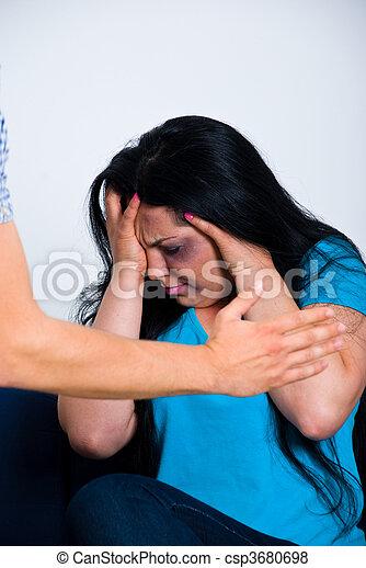 Afraid abused woman - csp3680698