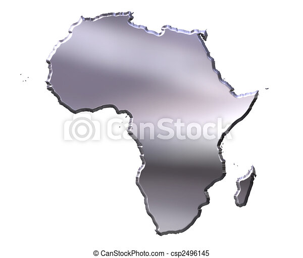 Africa 3d silver map isolated in white stock illustrations