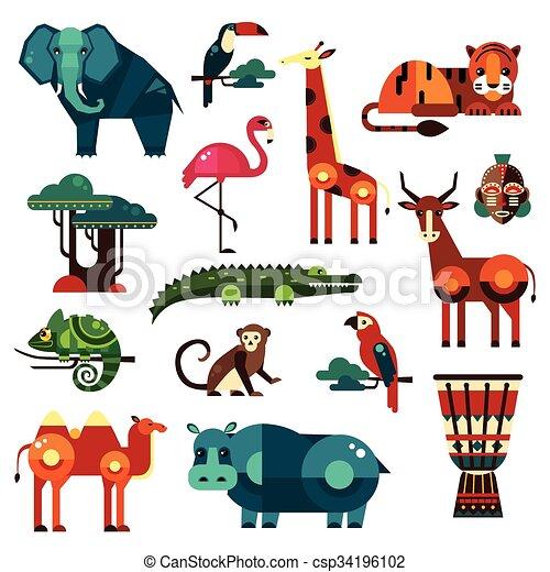 africa and savanna animals vector set africa and savanna animals
