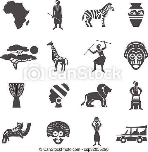 africa black white icons set africa black white icons set with