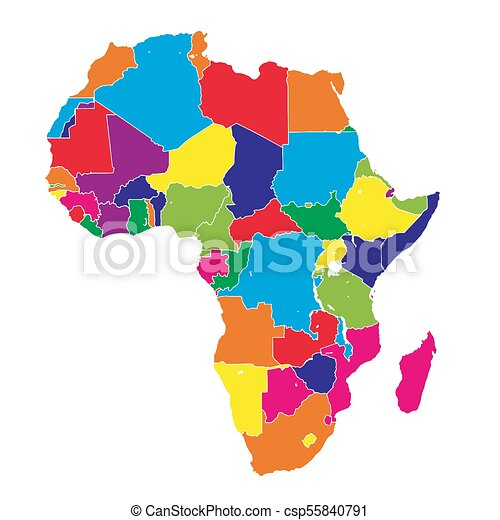 Africa Colorful Vector Map Political Version Usable For Travel