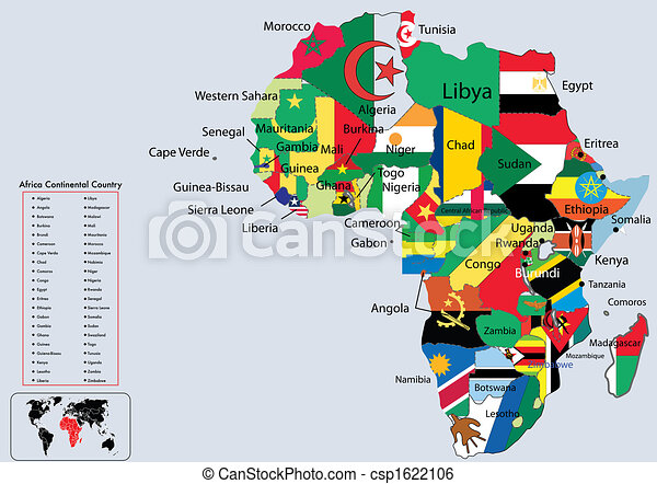 Superb Africa Continental Country Flags And Map   Csp1622106