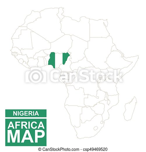 Africa contoured map with highlighted nigeria. nigeria map and flag ...