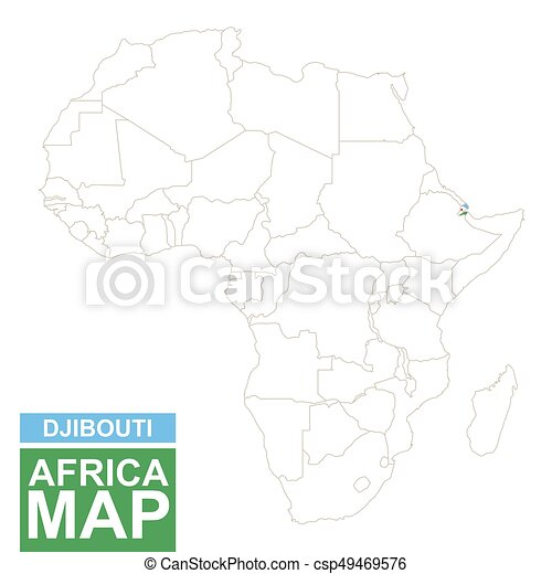 Africa contoured map with highlighted djibouti. djibouti map and ...