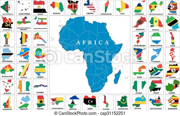 Africa countries flag maps - csp31152251