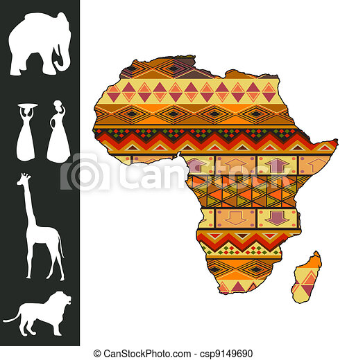 Africa design Map of africa with decorative pattern and stock