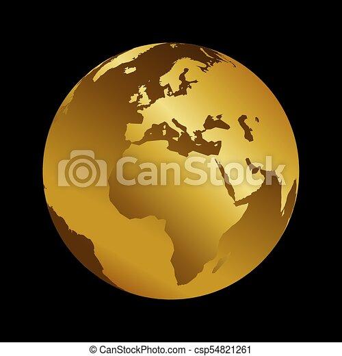Africa golden 3d metal planet backdrop view . World map vector illustration on black background - csp54821261