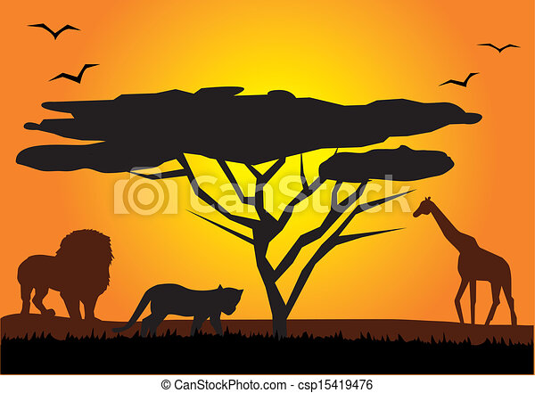 Line Drawings Of African Animals : Vector african landscape with animals vectors illustration search