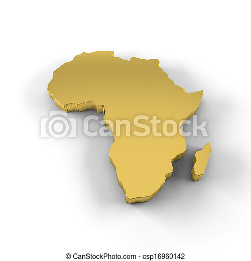 South africa 3d golden map isolated in white stock illustration