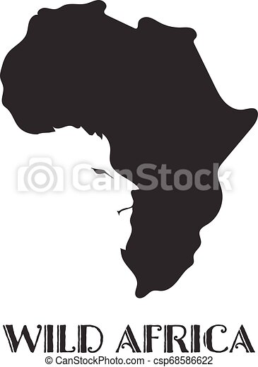 Africa Map Silhouette Vector.Africa Map Black Silhouette Country Borders On White Background Contour Of State With Lion Face On Negative Space Vector Illustration