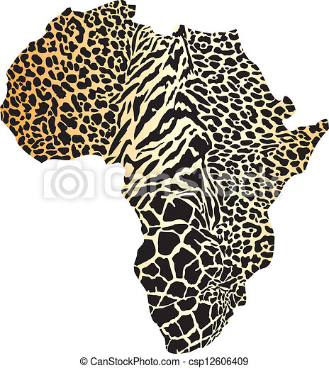 Africa map in a cheetah camouflage - csp12606409