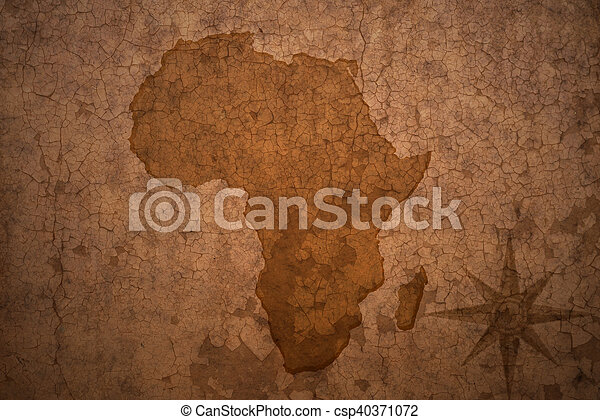 Africa Map Background.Africa Map On Vintage Crack Paper Background