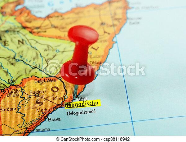 Africa Map Somalia Mogadishu Close Up Of A Red Pushpin On A Map Of