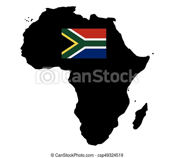 Africa map with flag - csp49324519