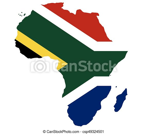 Africa map with flag - csp49324501