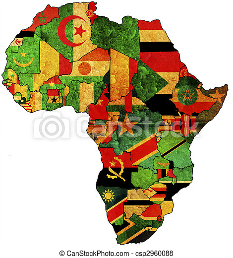 africa map art africa map some grunge map with flags of 10025