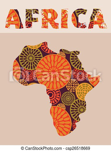 Map Of Africa Art.Africa Patterned Map Africa Patterned Tribal Map