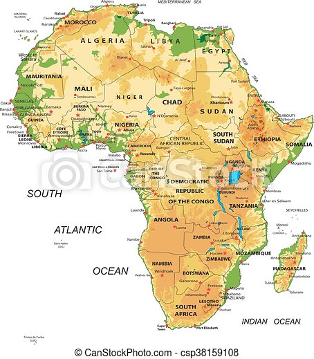 Africaphysical map Highly detailed physical map of vector