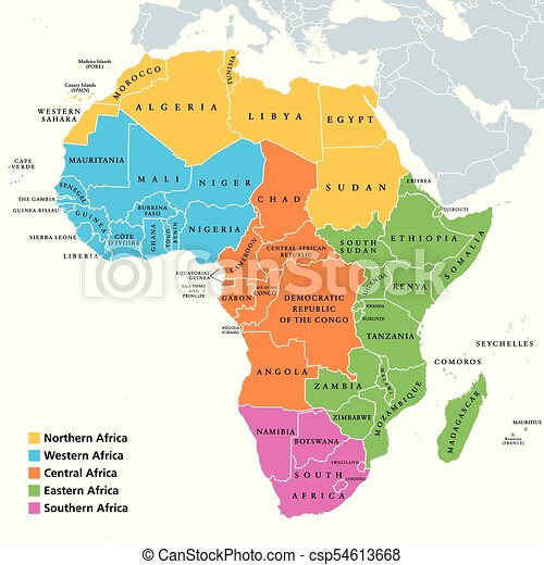 Countries Of West Africa Map.Africa Regions Map With Single Countries