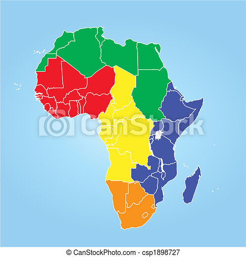 Color map of africa regions stock illustrations Search EPS Clipart