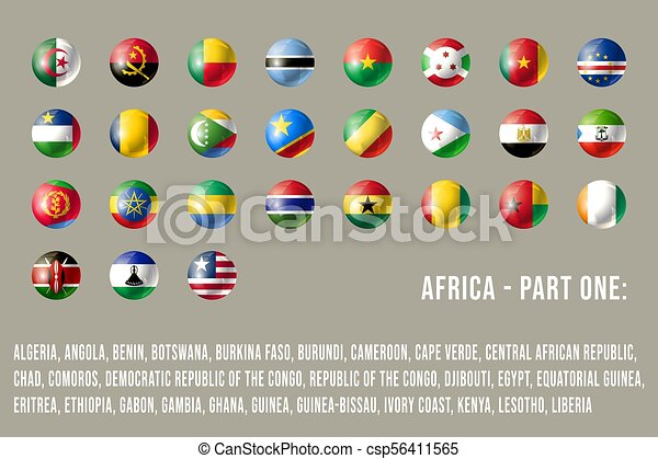 Africa round flags part 1