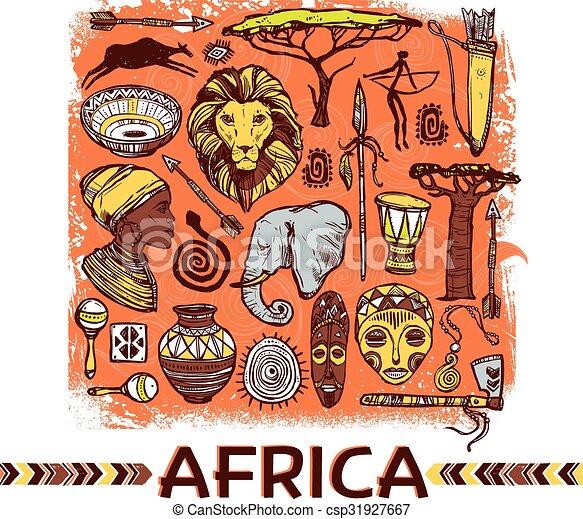 Africa Sketch Illustration - csp31927667