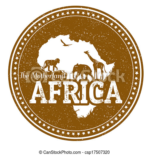 Africa Stamp Vintage Stamp With Wild Animals And Map Of