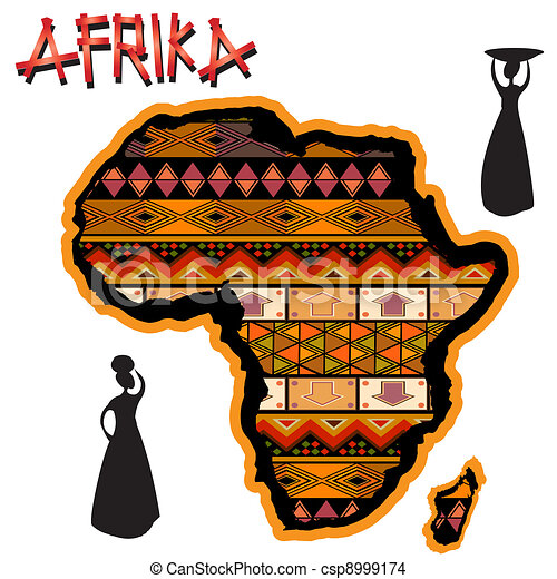 Map Of Africa Art.Africa Traditional Map African Continent With Traditional Cover And