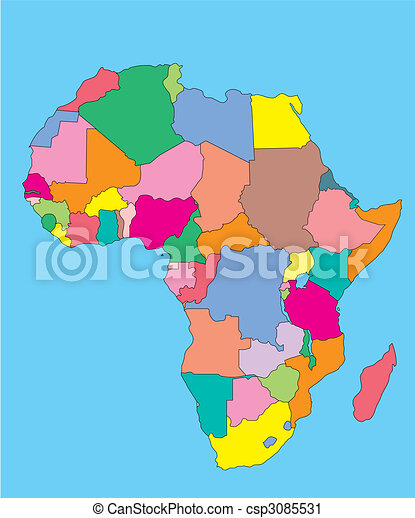 Africa With Editable Countries Africa Regional Continent Map