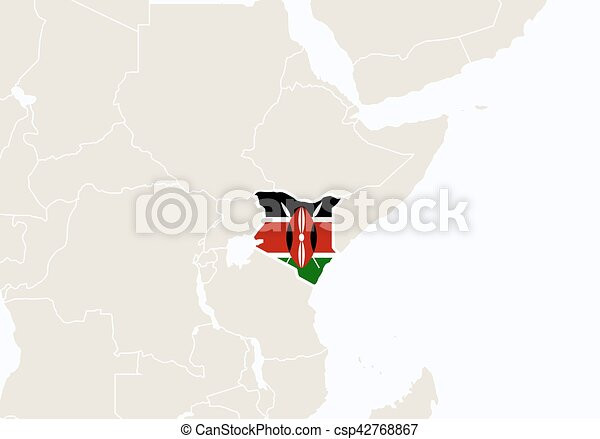 Africa with highlighted Kenya map. - csp42768867