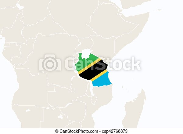 Africa with highlighted Tanzania map. - csp42768873