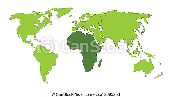 Africa world map africa on world map illustration clipart vector africa world map csp12695258 gumiabroncs Choice Image