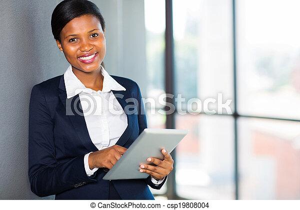 africaine, femme affaires, informatique, tablette, utilisation - csp19808004