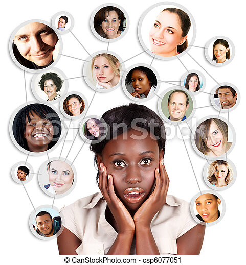 African Amercian business woman and social network - csp6077051