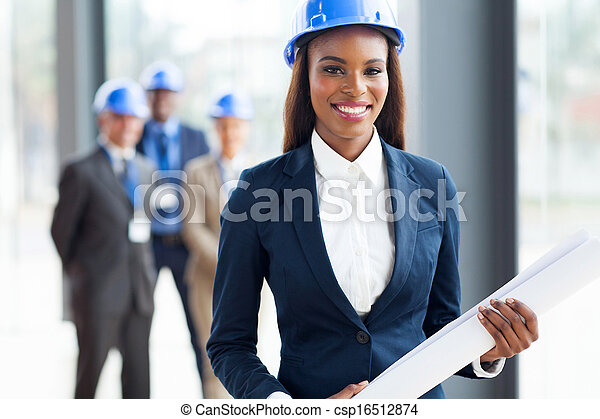 african american architect holding blue print - csp16512874