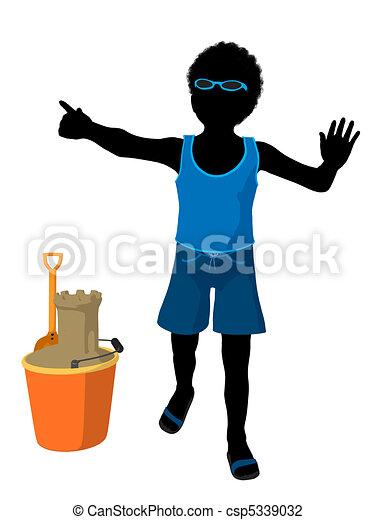 African American Beach Boy Silhouet - csp5339032
