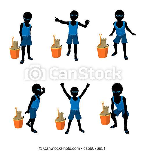 African American Beach Boy Silhouet - csp6076951