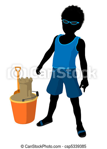 African American Beach Boy Silhouet - csp5339385